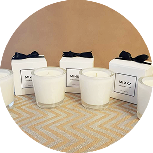 Photo showing group of MINKA candles